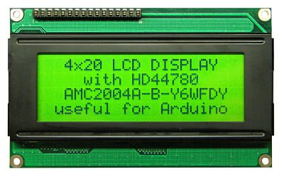 DISPLAY 20X4 LCD BACKLIGHT VERDE SEM INTERFACE SERIAL P/ARDUINO PIC